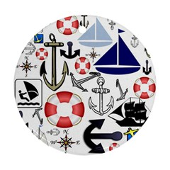 Nautical Collage Round Ornament (two Sides) by StuffOrSomething