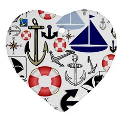 Nautical Collage Heart Ornament (two Sides) by StuffOrSomething