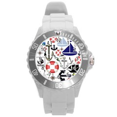 Nautical Collage Plastic Sport Watch (large) by StuffOrSomething