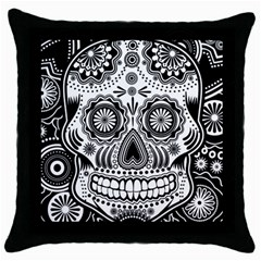 Sugar Skull Black Throw Pillow Case by Ancello
