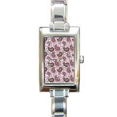 Paisley In Pink Rectangular Italian Charm Watch by StuffOrSomething