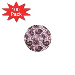 Paisley In Pink 1  Mini Button Magnet (100 Pack) by StuffOrSomething