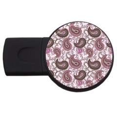 Paisley In Pink 4gb Usb Flash Drive (round) by StuffOrSomething