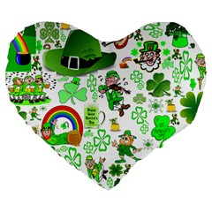 St Patrick s Day Collage 19  Premium Heart Shape Cushion
