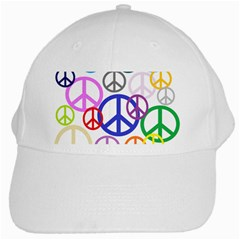 Peace Sign Collage Png White Baseball Cap by StuffOrSomething