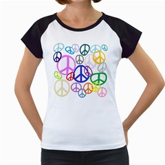 Peace Sign Collage Png Women s Cap Sleeve T Shirt (white)