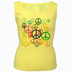 Peace Sign Collage Png Women s Tank Top (yellow)