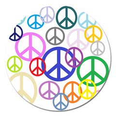 Peace Sign Collage Png Magnet 5  (round) by StuffOrSomething