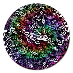 Urock Musicians Twisted Rainbow Notes  Magnet 5  (round)