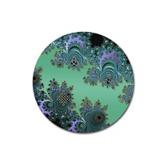 Celtic Symbolic Fractal Design In Green Magnet 3  (round) by UROCKtheWorldDesign