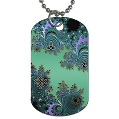 Celtic Symbolic Fractal Design In Green Dog Tag (two Sided)  by UROCKtheWorldDesign