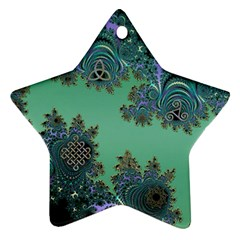 Celtic Symbolic Fractal Design In Green Star Ornament (two Sides) by UROCKtheWorldDesign