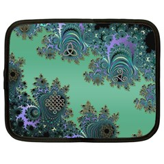 Celtic Symbolic Fractal Design In Green Netbook Sleeve (xxl) by UROCKtheWorldDesign