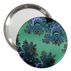 Celtic Symbolic Fractal Design In Green 3  Handbag Mirror by UROCKtheWorldDesign