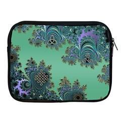Celtic Symbolic Fractal Design In Green Apple Ipad Zippered Sleeve