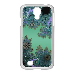 Celtic Symbolic Fractal Design In Green Samsung Galaxy S4 I9500/ I9505 Case (white) by UROCKtheWorldDesign