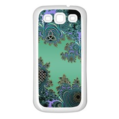 Celtic Symbolic Fractal Design In Green Samsung Galaxy S3 Back Case (white)