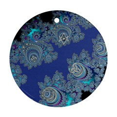 Blue Metallic Celtic Fractal Round Ornament