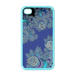 Blue Metallic Celtic Fractal Apple Iphone 4 Case (color) by UROCKtheWorldDesign