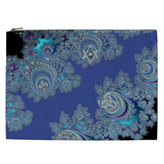 Blue Metallic Celtic Fractal Cosmetic Bag (xxl) by UROCKtheWorldDesign