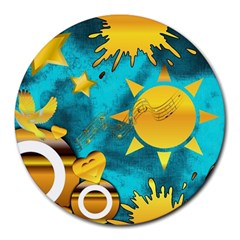 Musical Peace 8  Mouse Pad (round) by StuffOrSomething
