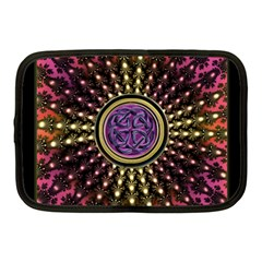 Hot Lavender Celtic Fractal Framed Mandala Netbook Sleeve (medium)