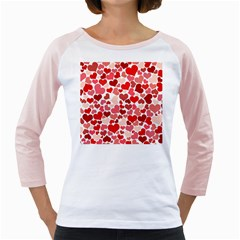Pretty Hearts  Women s Long Cap Sleeve T Shirt (white)  by Colorfulart23