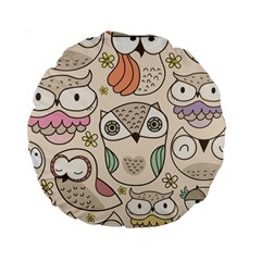 Owl Pattern 15  Premium Round Cushion  by Contest1771913