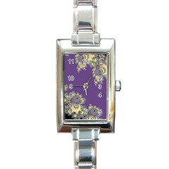 Purple Symbolic Fractal Rectangular Italian Charm Watch by UROCKtheWorldDesign