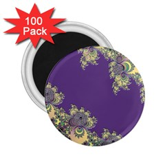 Purple Symbolic Fractal 2 25  Button Magnet (100 Pack)