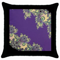 Purple Symbolic Fractal Black Throw Pillow Case by UROCKtheWorldDesign