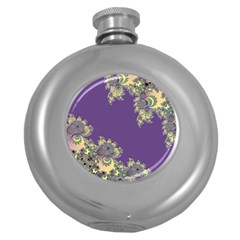 Purple Symbolic Fractal Hip Flask (round) by UROCKtheWorldDesign