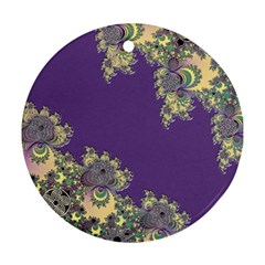 Purple Symbolic Fractal Round Ornament (two Sides) by UROCKtheWorldDesign