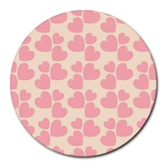 Cream And Salmon Hearts 8  Mouse Pad (round) by Colorfulart23