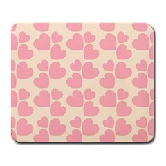 Cream And Salmon Hearts Large Mouse Pad (rectangle) by Colorfulart23