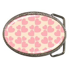 Cream And Salmon Hearts Belt Buckle (oval) by Colorfulart23