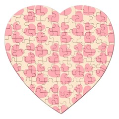 Cream And Salmon Hearts Jigsaw Puzzle (heart) by Colorfulart23