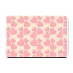 Cream And Salmon Hearts Small Door Mat by Colorfulart23
