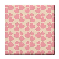 Cream And Salmon Hearts Face Towel by Colorfulart23