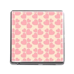 Cream And Salmon Hearts Memory Card Reader With Storage (square) by Colorfulart23