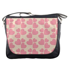 Cream And Salmon Hearts Messenger Bag by Colorfulart23