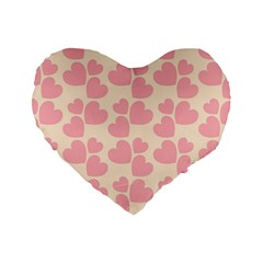 Cream And Salmon Hearts 16  Premium Heart Shape Cushion