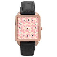 Cream And Salmon Hearts Rose Gold Leather Watch  by Colorfulart23