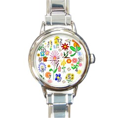 Summer Florals Round Italian Charm Watch by StuffOrSomething