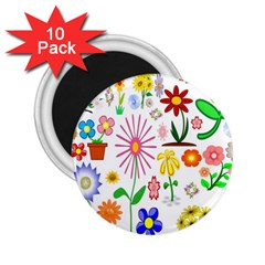 Summer Florals 2 25  Button Magnet (10 Pack) by StuffOrSomething