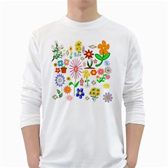 Summer Florals Men s Long Sleeve T-shirt (white) by StuffOrSomething