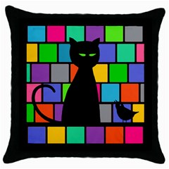 Cat Meets Bird Black Throw Pillow Case by Contest1719785