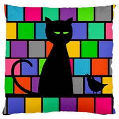Cat Meets Bird Large Cushion Case (single Sided)