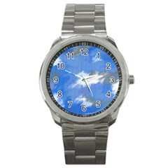 Abstract Clouds Sport Metal Watch