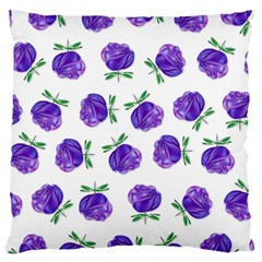 Purple Roses In Rows Large Cushion Case (single Sided)